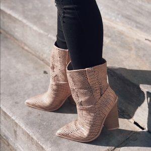 Shoes - 🆕Lana Rose Gold Snake Skin Cowboy Boots